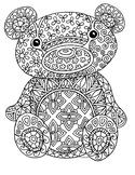 Black & White Detailed Bear Coloring Sheet