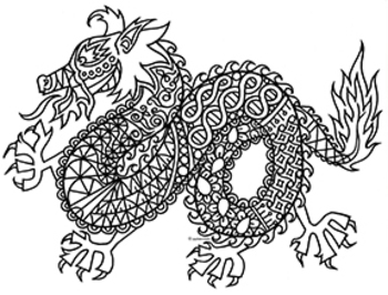 Dragon Zentangle Coloring Page