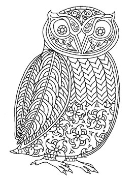 Owl Zentangle Coloring Page