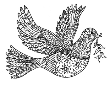 Peace Dove Bird Zentangle Coloring Page