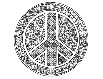 Peace Symbol Zentangle Coloring Page