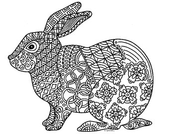 Rabbit Zentangle Coloring Page: 2023 Chinese New Year
