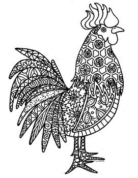 Rooster Zentangle Coloring Page: 2017 Chinese New Year
