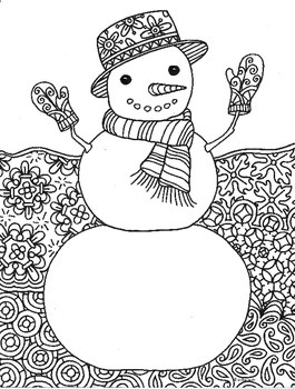 Winter Snowman Zentangle Coloring Page