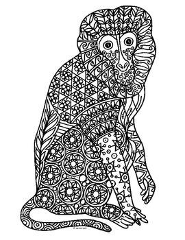 Monkey Zentangle Coloring Page