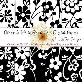 Black & White Floral Digital Papers Package