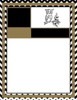 Black, White, Gold letter template