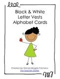 Black & White Letter Vests Alphabet Cards - Upper case