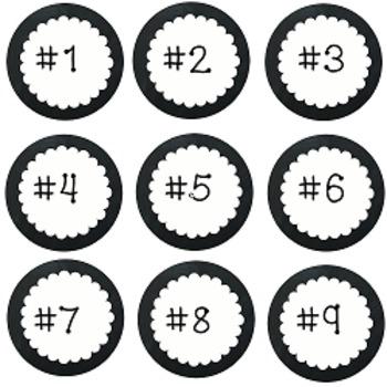 Black & White Number Labels
