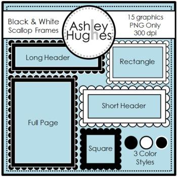 Black & White Scalloped Frames {Graphics for Commercial Use}