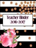 Black&White Striped Floral Design Editable Binder
