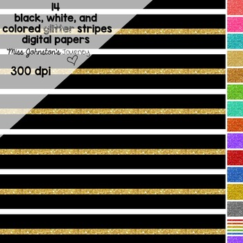 Black, White, and Colored Glitter Striped Digital Papers