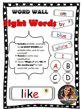 Black White and Red Word Wall Word Cards and Labels for Ki
