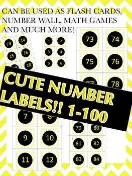 Black, White, and Yellow number labels1-100