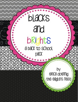 Black and Brights Back to School Pack--editable!