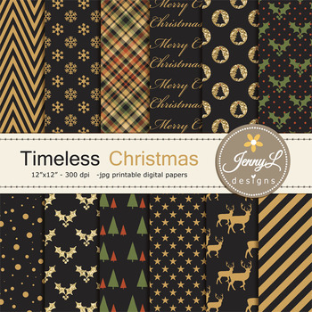 Black and Gold Christmas Digital Papers