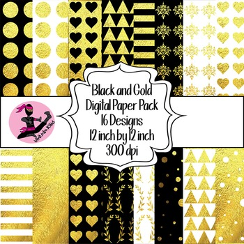 Black and Gold Digital Paper- 16 Designs- 12 by 12- 300 dpi