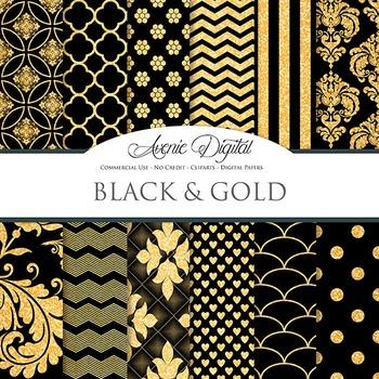 Black and Gold Glitter Digital Paper sparkle pattern scrap