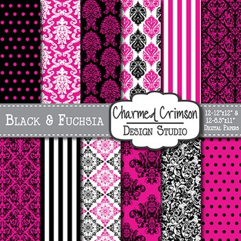 Black and Pink Damask Digital Paper 1403