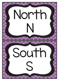 Black and Purple Quatrefoil Cardinal Direction Cards