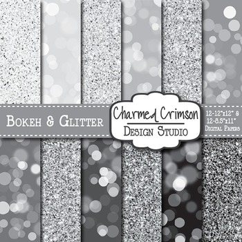 Black and Silver Bokeh and Glitter Digital Paper 1288