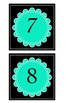 Black and Turquoise 1-20 number cards