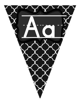 Black and White Manuscript Alphabet Pennant Banner without