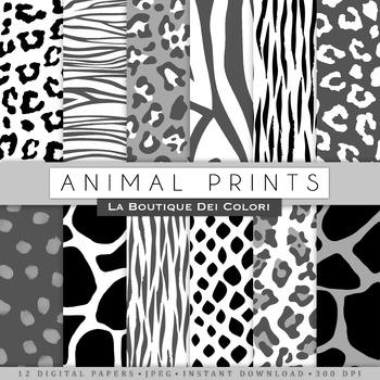 Black and White Animal Prints Digital Paper, scrapbook bac