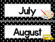 Black and White Back to School 12 Months of the Year Labels.
