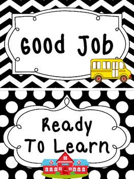 Black and White Back to School themed Behavior Clip Chart-7 Cards