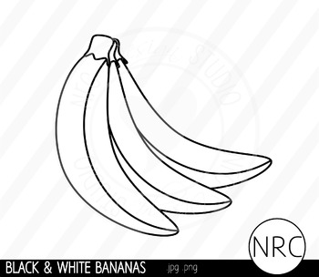 Black and White Banana Clip Art- Commercial Use Clipart