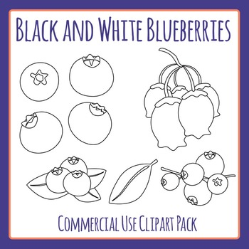 Black and White Blueberries Clip Art Pack for Commercial Use