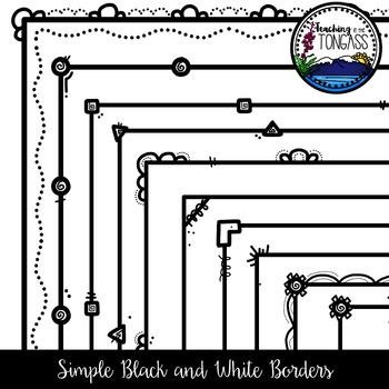 Black and White Skinny Borders Clipart Bundle