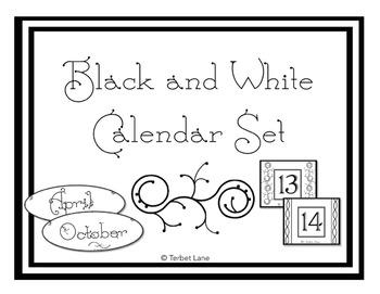 Black and White Calendar and Organizer Set