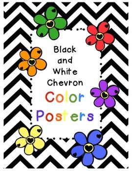Black and White Chevron Color Posters