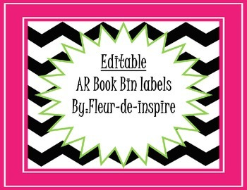 Black and White Chevron Editable Book Bin Labels