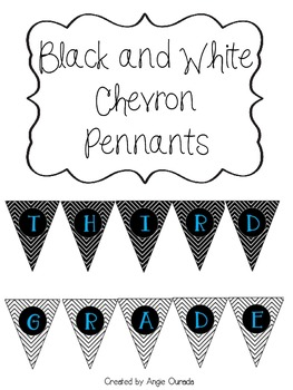 Black and White Chevron Pennant- Third Grade