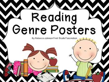 Black and White Chevron Reading Genre posters