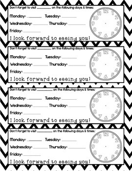 Black and White Chevron Student Desk Schedule Reminder Cards