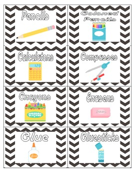 Black and White Chevron Supply Labels