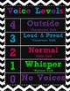 Black and White Chevron Voice Levels Chart