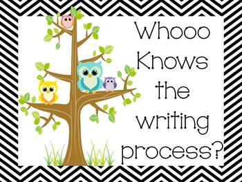 Black and White Chevron and Owl Writing Process