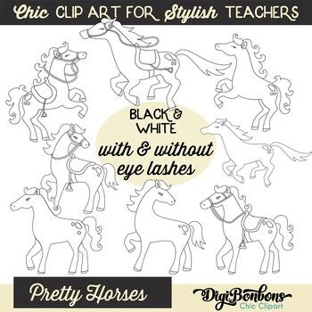 Black and White Clipart - Clipart for Teachers - Horse Clip art