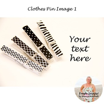 Black and White Clothes Pin Image 1