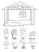 A Sunday School Christmas Nativity Craft Set to color or c