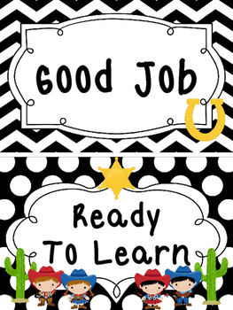 Black and White Cowboy themed Behavior Clip Chart-7 Cards