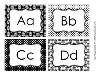 Black and White Damask and Dot Word Wall Headers