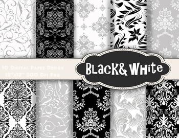 Black and White Digital Paper Damask Flower Flourish Swirl