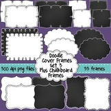 Black and White Doodle Cover Frames & Borders SET 3 Plus C