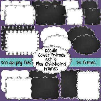 Black and White Doodle Cover Frames & Borders SET 3 Plus C